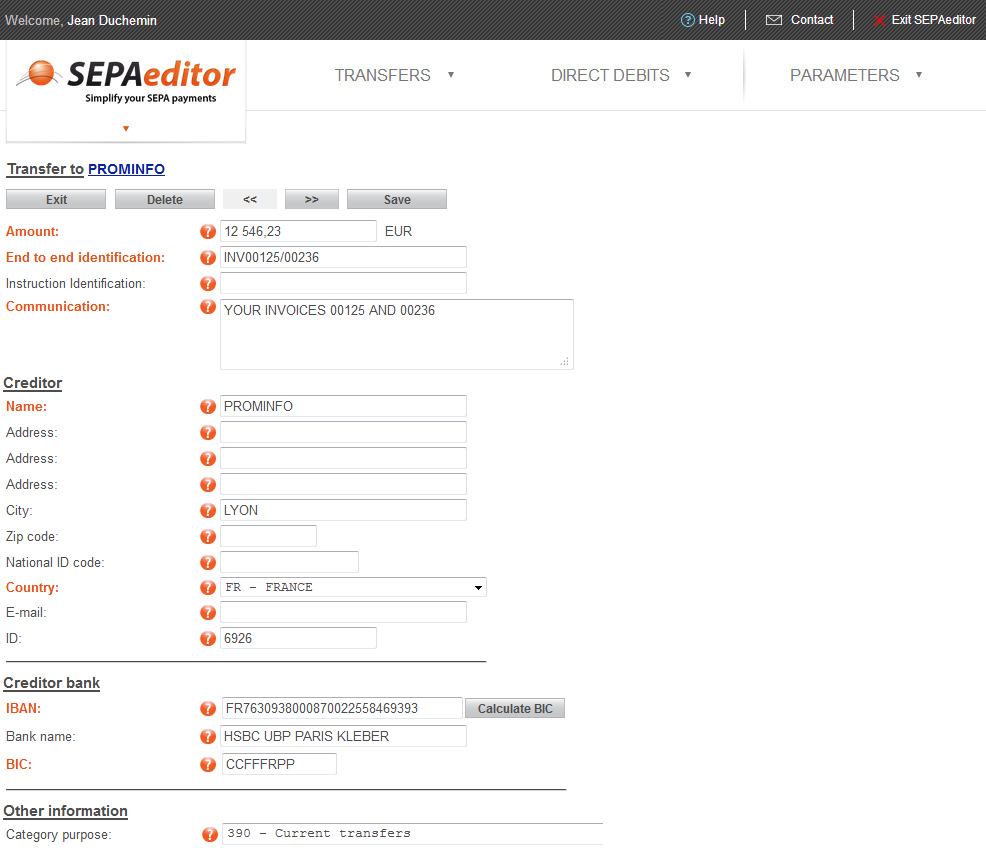Enter the detail for each payment order of the remittance, under control of SEPAeditor