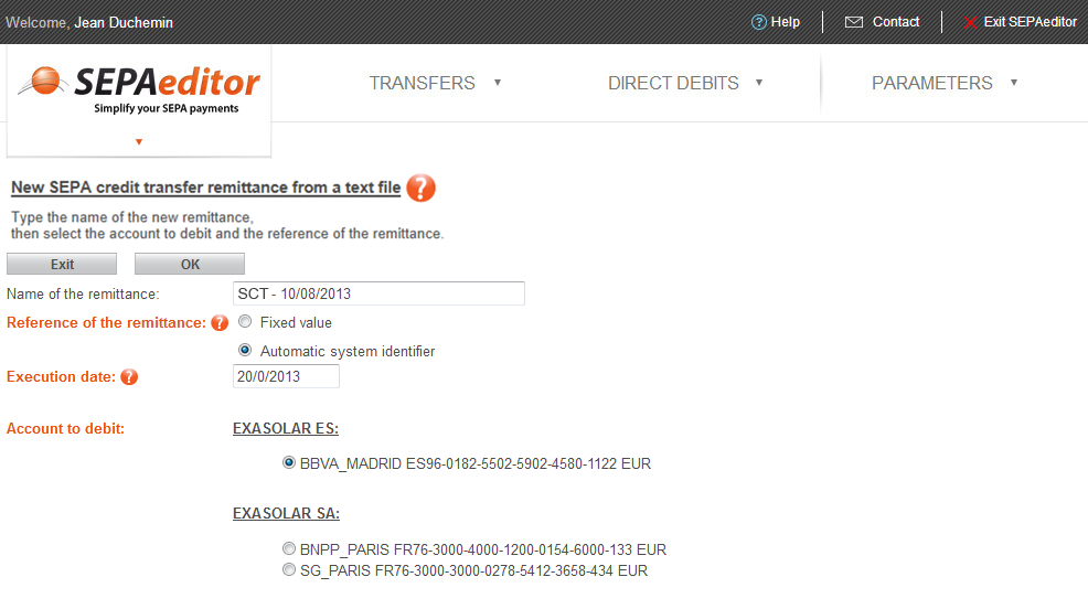 1/  Enter the remittance information and select the account to debit