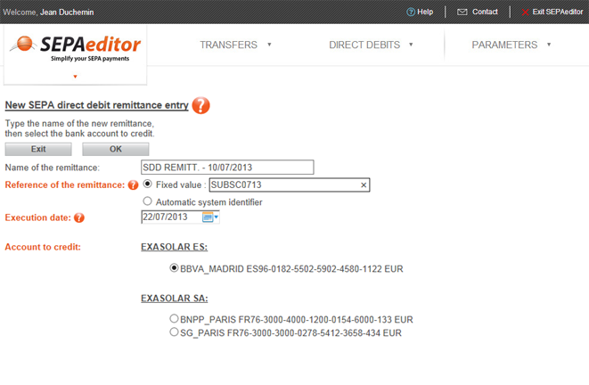 Enter the remittance information and select the account to credit