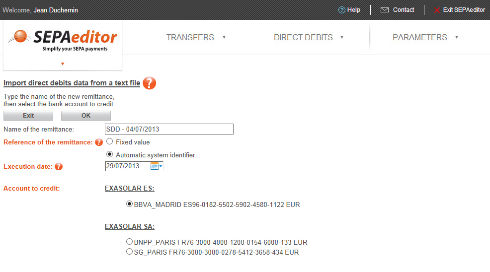 1/ Enter the remittance information and select the account to credit